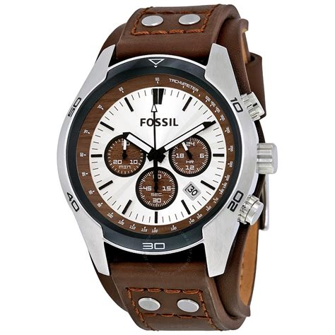 Leather Fossil fossil coachman chronograph cuff leather s