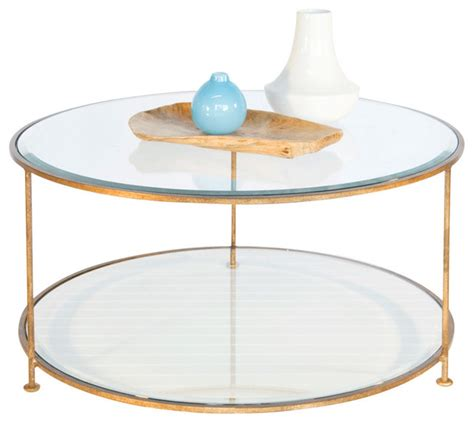 Worlds Away Iron Round Coffee Table with Beveled Glass Top ROLLO   Transitional   Coffee Tables