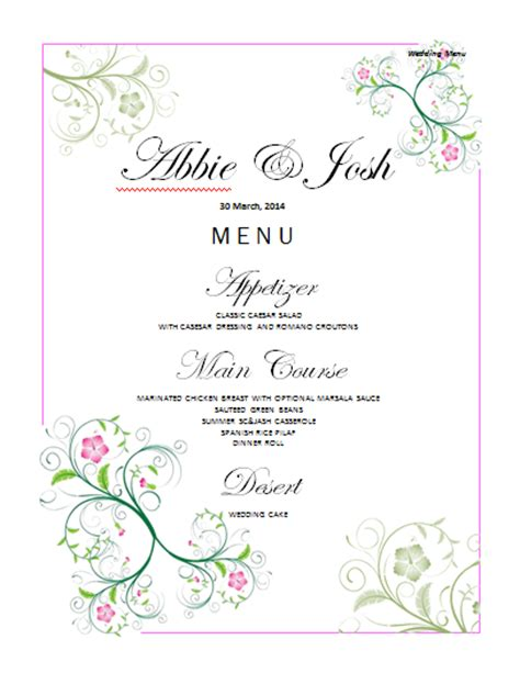 free wedding menu templates for microsoft word www