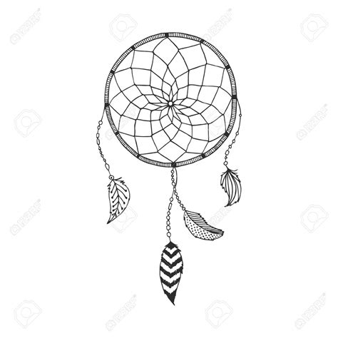 vector hand drawn dreamcatcher tribal design boho style
