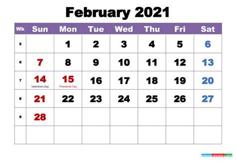 february  printable calendar  holidays word