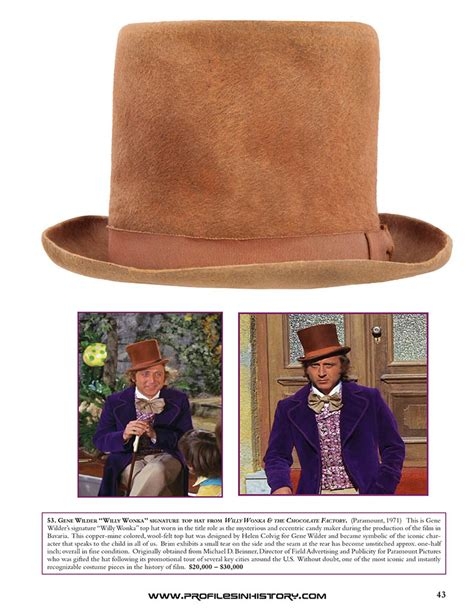 gene wilder willy wonka hat my dream auction willy wonka s cinematic treasures and