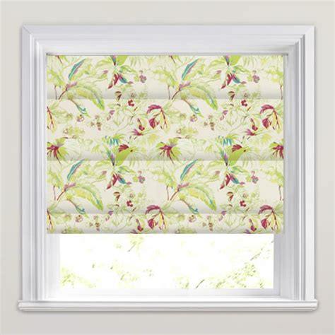 pink patterned roman blind tropical lime green red pink white floral patterned