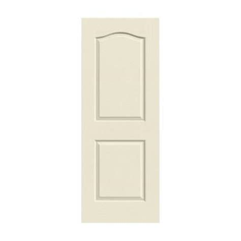 jeld wen 30 in x 80 in molded textured 2 panel eyebrow primed white solid composite