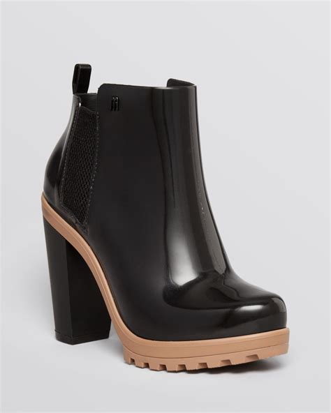 high heel rainboots platform booties soldier high heel in black