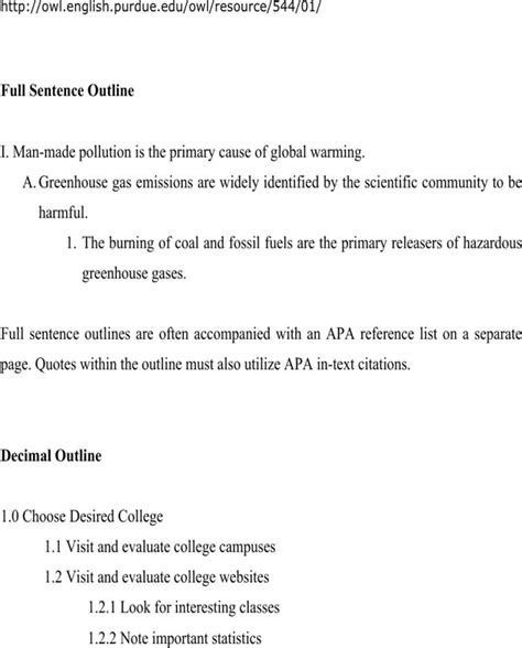 sentence patterns purdue owl download the purdue owl sle outlines for free page 2