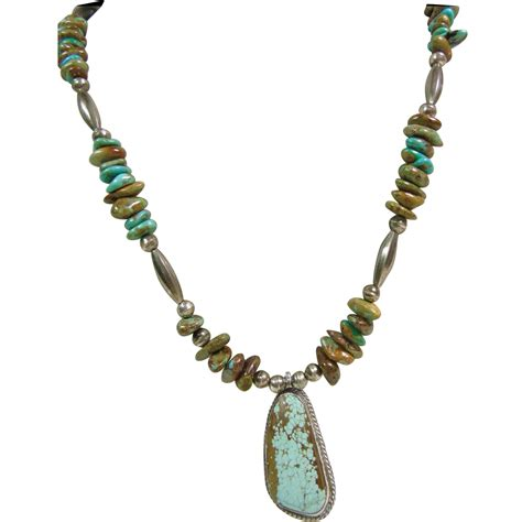 bench necklace sterling silver kingman turquoise and sterling bench bead