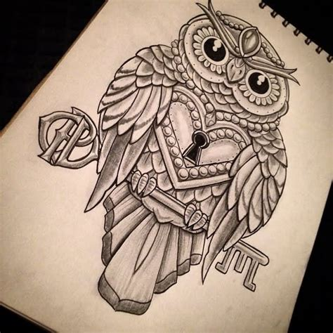Owl Tattoo With Lock And Key Meaning | 7 lock and key tattoo designs and ideas