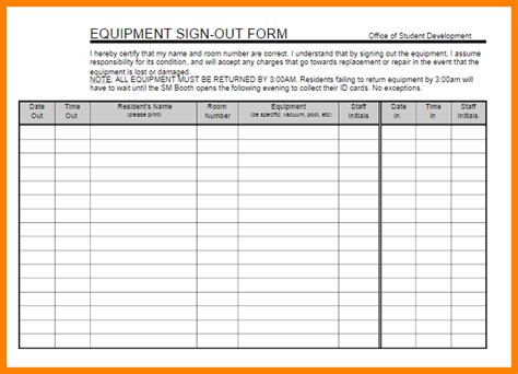 tool sign out sheet template equipment sign out sheet template equipment sign out sheet