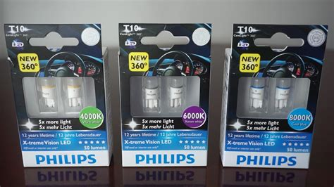 philips x tremevision led t10 w5w 4000k vs 6000k vs 8000k