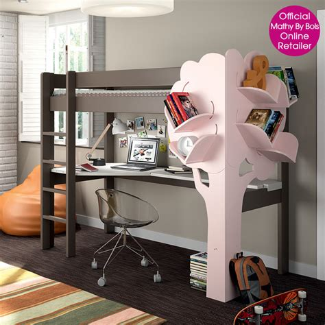 high sleeper bed with desk and tree bookcase modern