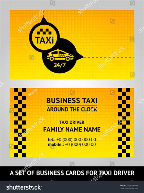 taxi name card template business cards taxi vector illustration template stock