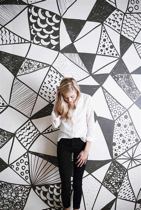 Black Wall Murals geometric black and white large wall mural watercolor