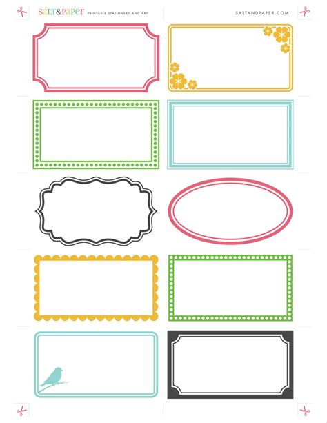 card template to sxend out printable labels from saltandpaper for a high