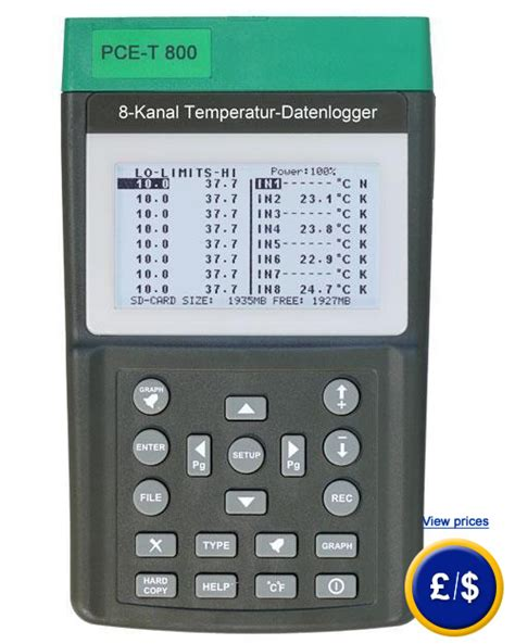 Temperature Data Logger Industrial 10 Channel 8 channel thermometer with data logger pce t 800
