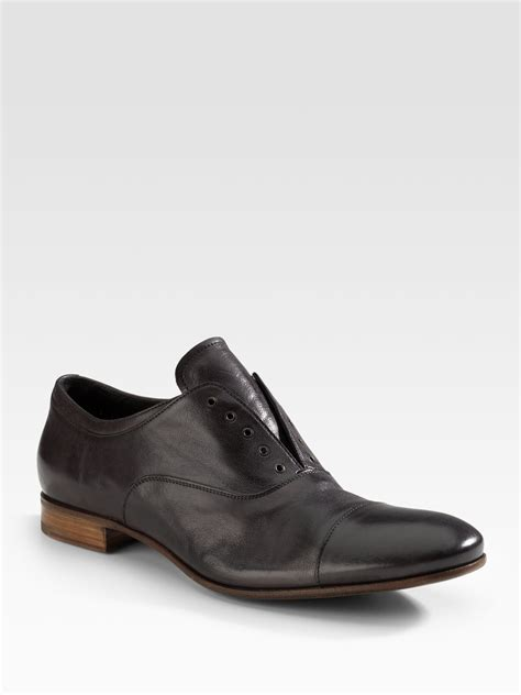 prada oxford shoes prada laceless oxfords in gray for anthracite lyst
