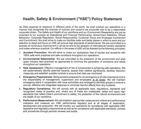 health and safety policy template sle safety statement template 9 free documents in pdf
