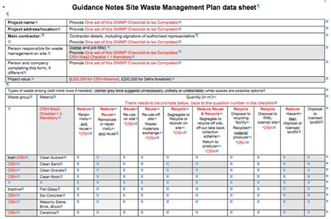 waste management plans template swmp site waste management plan workshops green building