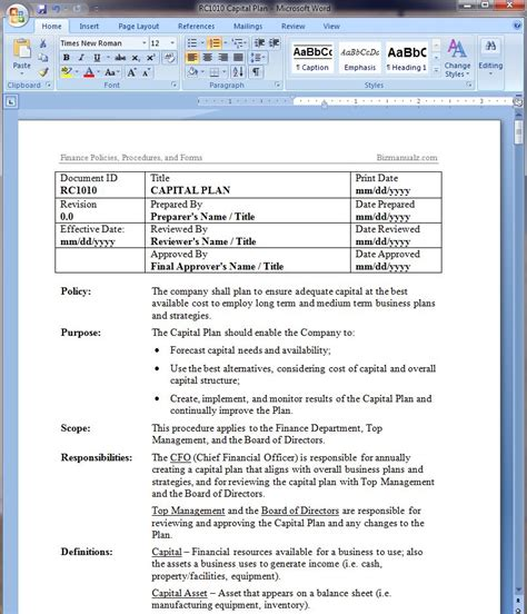 Capital Planning Policy Template Policy Procedure Manual Template