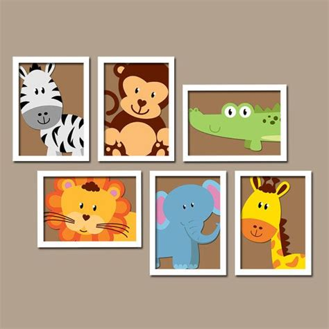 Jungle Decor For Nursery Safari Animal Wall Animal Nursery Artwork Zoo Jungle Theme Baby Boy Nursery Decor