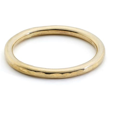 Handmade Gold Rings - 2mm hammered gold halo ring handmade gold silver and