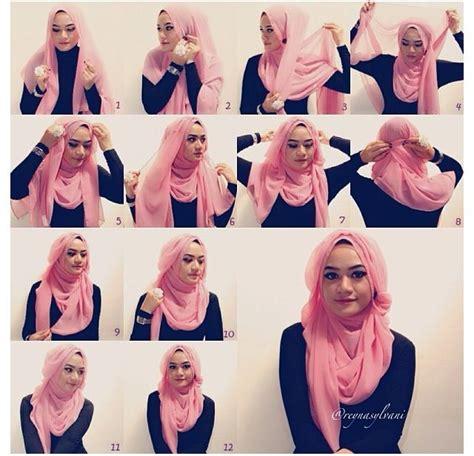11 tutorial hijab pashmina sifon untuk pesta polos dan cara memakai jilbab pashmina sifon polos