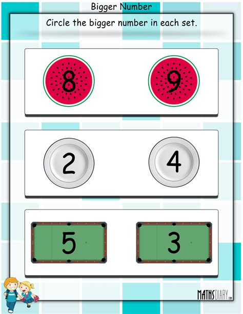 printable numbers on circles math worksheets circle the bigger number math worksheets