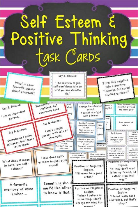printable self esteem quotes self esteem and positive thinking task cards thinking