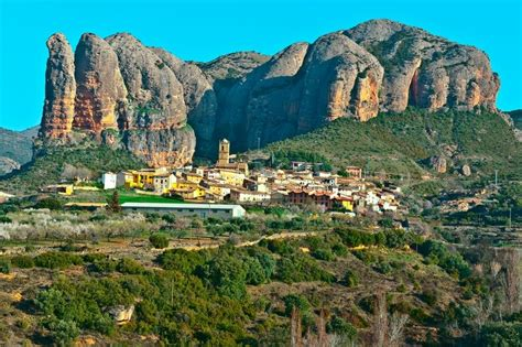 Spanish Medieval Village at the Foot of the Rocks in the