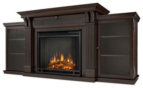 walnut electric fireplace entertainment unit