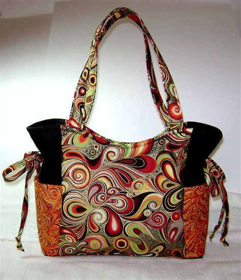 Handmade Cloth Handbags - fabric handbag handmade swirl fabrics artsy purse