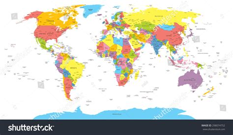 illustration of world map with country name world map with countries country and city names stock