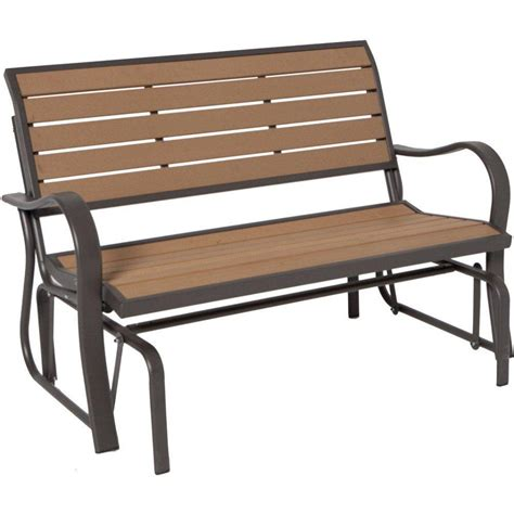plastic glider bench lifetime wood alternative patio glider bench shop your