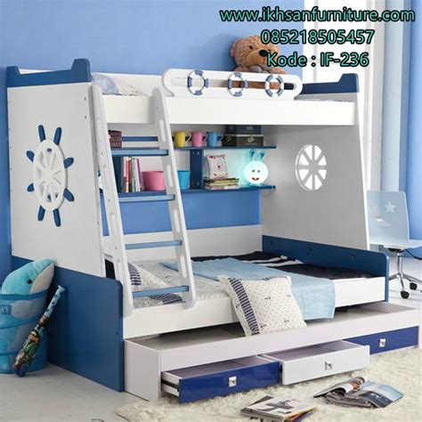 Tempat Tidur Minimalis Kayu Cat Duco 160x200 Berlaci Mewah model tempat tidur tingkat anak modern desain tempat tidur