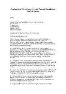 employment agreement in letter format form sle