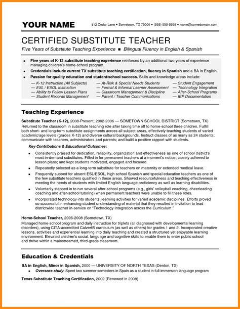 Substitute Resume
