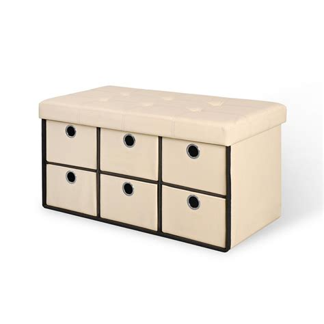 Storage Bench With Drawers by Beige Folding Storage Bench With Drawers 66115 The Home
