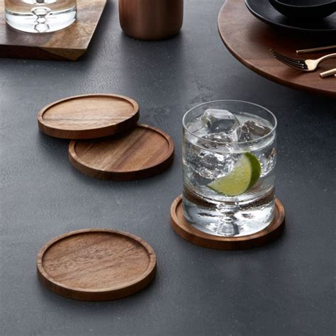 acacia wood coasters set   reviews crate  barrel