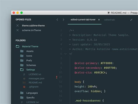 sublime text 3 theme guide material theme sublime text 3 by mattia astorino dribbble
