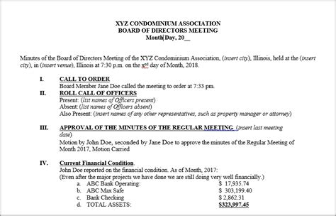 How To Master Hoa Board Meeting Minutes With Template Hoa Annual Meeting Minutes Template