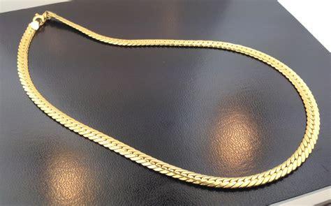18k Gold Necklace 18k yellow gold italian designer 17 herringbone necklace