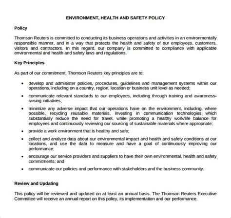 company safety policy template 11 health and safety policy templates free sle