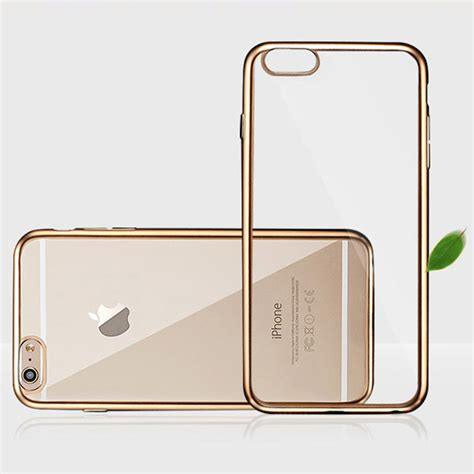 Rose Gold Ultra Thin Plating Bumper Crystal Clear Soft TPU Silicon Cell Phone Case For Apple