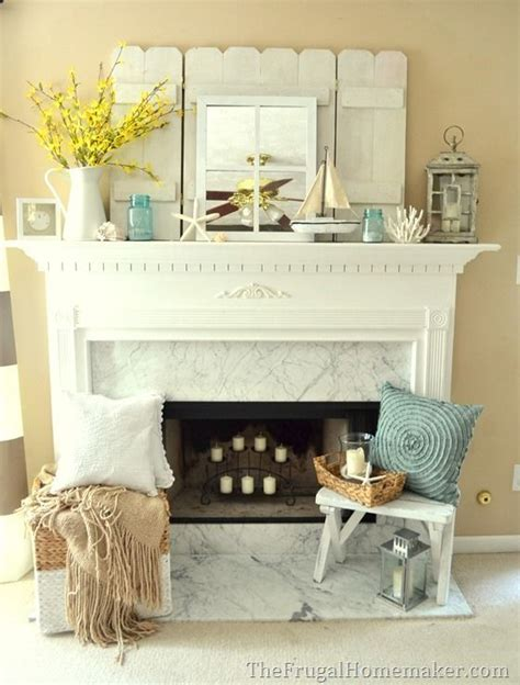 cottage or coastal themed mantel creative decorating