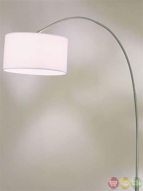 floor l white shade float brushed nickel white silk shade arc floor l 4453rg