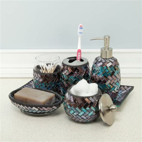 glass mosaic vanity tray for the bathroom home decor
