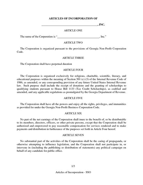 articles of incorporation template best photos of amended articles of organization