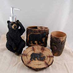bear bathroom accessories sets black bear toilet paper holder unique lodge rustic