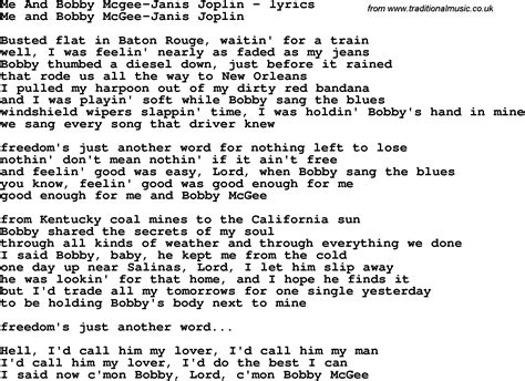 lyrics and song lyrics for me and bobby mcgee janis joplin
