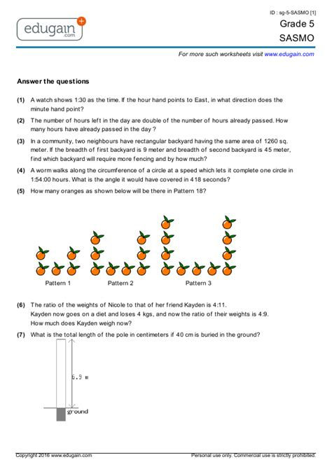 pattern questions grade 5 grade 5 sasmo printable worksheets online practice